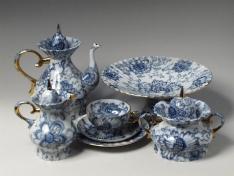 """Сервиз чайный, форма шатровая, тв.ф., """"Поющий сад""""."""