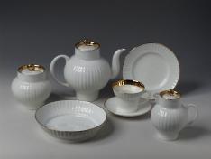 """Сервиз чайный, форма волна, кост.ф., 6/20, """"Золотой кантик 2""""."""