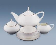 """Сервиз чайный, форма купольная, кост.ф. 6/14 """"Золотая лента""""."""
