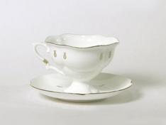 """Чашка с блюдцем чайная, кост.ф. Наташа """"Петельки""""."""
