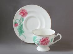 """Чашка с блюдцем чайная, кост.ф. Айседора """"Пионовидный""""."""