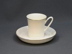 """Чашка с блюдцем кофейная, кост.ф. вертикаль  """"Золотая отводка""""."""
