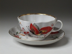 """Чашка с блюдцем чайная, тв.ф. тюльпан """"Бабочки""""."""