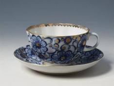 """Чашка с блюдцем чайная, тв.ф. тюльпан """"Вьюнок""""."""