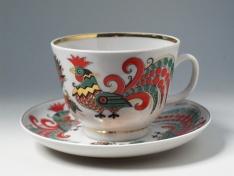 """Чашка с блюдцем чайная, тв.ф. подарочная """"Два петуха""""."""