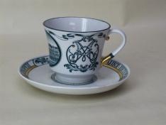 """Чашка с блюдцем чайная, тв.ф. банкетная """"Зимний дворец""""."""