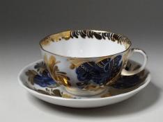 """Чашка с блюдцем чайная, тв.ф. тюльпан """"Золотой сад""""."""