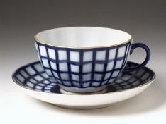 """Чашка с блюдцем чайная, тв.ф. тюльпан """"Кобальтовая клетка""""."""
