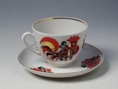 """Чашка с блюдцем чайная, тв.ф. весенняя """"Красные петушки""""."""