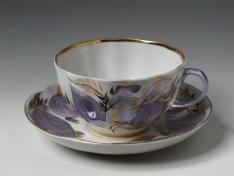 """Чашка с блюдцем чайная, тв.ф. тюльпан """"Лунный""""."""