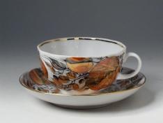 """Чашка с блюдцем чайная, тв.ф. тюльпан """"Мой сад""""."""