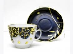 """Чашка с блюдцем чайная, тв.ф. подарочная """"Гранат золотой""""."""