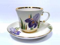 """Чашка с блюдцем чайная, тв.ф. банкетная """"Ирисы""""."""