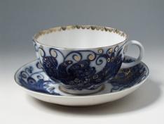 """Чашка с блюдцем чайная, тв.ф. тюльпан """"Птица-царица""""."""