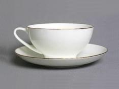 """Чашка с блюдцем чайная, кост.ф. купольная  """"Золотая лента"""" ."""