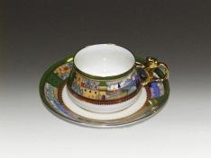 """Чашка с блюдцем чайная, кост.ф. Билибина """"Деревня на озере""""."""