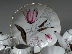 """Сухарница, форма тюльпан, """"Розовые тюльпаны""""."""