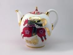 """Чайник доливной, 2000 мл, форма Новгородский """"Красный конь""""."""