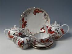 """Сервиз чайный, 6/20, форма тюльпан, тв.ф. """"Бабочки""""."""