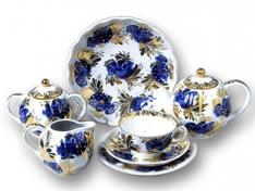 """Сервиз чайный, 6/20, форма тюльпан, тв.ф. дес. """"Золотой сад""""."""