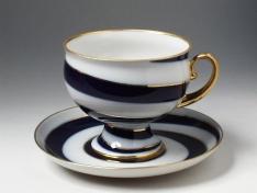 """Чашка с блюдцем чайная, тв.ф. класс. """"Серпантин""""."""