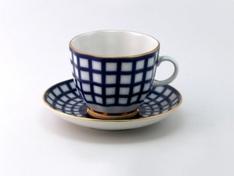 """Чашка с блюдцем кофейная, тв.ф., тюльпан """"Кобальтовая клетка""""."""