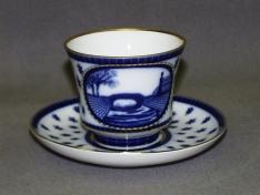 """Чашка с блюдцем чайная, тв.ф. банкетная """"Верхне-Лебяжий мостик""""."""