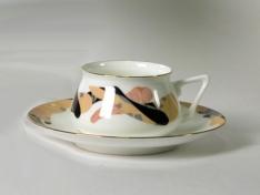 """Чашка с блюдцем чайная, кост.ф. Билибина 1 """"Карамель""""."""
