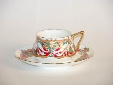 """Чашка с блюдцем чайная, кост.ф. Билибина """"Сказочные птицы""""."""