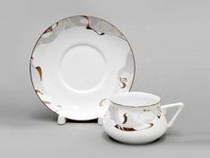"""Чашка с блюдцем чайная, кост.ф. Билибина 1 """"Крокус""""."""