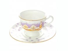 """Чашка с блюдцем чайная, кост.ф. Айседора """"Снегопад""""."""