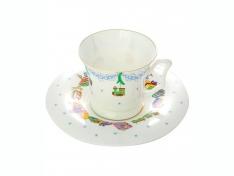 """Чашка с блюдцем чайная, кост.ф. Юлия """"Елка""""."""