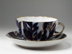 """Чашка с блюдцем чайная, тв.ф. тюльпан """"Зиминий вечер""""."""