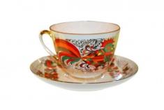 """Чашка с блюдцем чайная, тв.ф. весенняя """"Красный петух""""."""