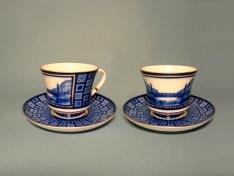 """Чашка с блюдцем чайная, тв.ф. банкетная """"Египетский мостик""""."""