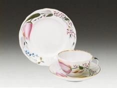 """Комплект чайный (3 пр.), тв.ф. тюльпан """"Розовые тюльпаны""""."""