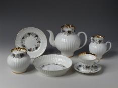 """Сервиз чайный, форма волна, кост.ф., 6/20, """"Тонкие веточки""""."""