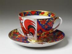 """Чашка с блюдцем чайная, тв.ф. весенняя """"Народные узоры""""."""