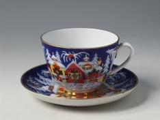 """Чашка с блюдцем чайная, тв.ф. весенняя """"Зимняя сказка""""."""