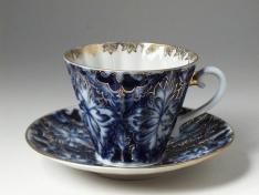 """Чашка с блюдцем чайная, тв.ф. лучистая """"Тетерева""""."""