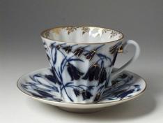 """Чашка с блюдцем чайная, тв.ф. лучистая, """"Колокольчики""""."""