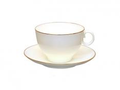 """Чашка с блюдцем чайная, кост.ф. яблочко """"Золотой кантик """"."""